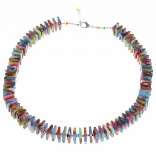 Jackie Brazil Liquorice Allsorts Flat Beads Short Necklace In Kandinsky